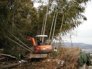 ユンボを駆使してのの竹伐採作業(聖ヶ丘)
