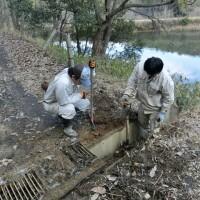 聖ヶ丘野営場の側溝掃除